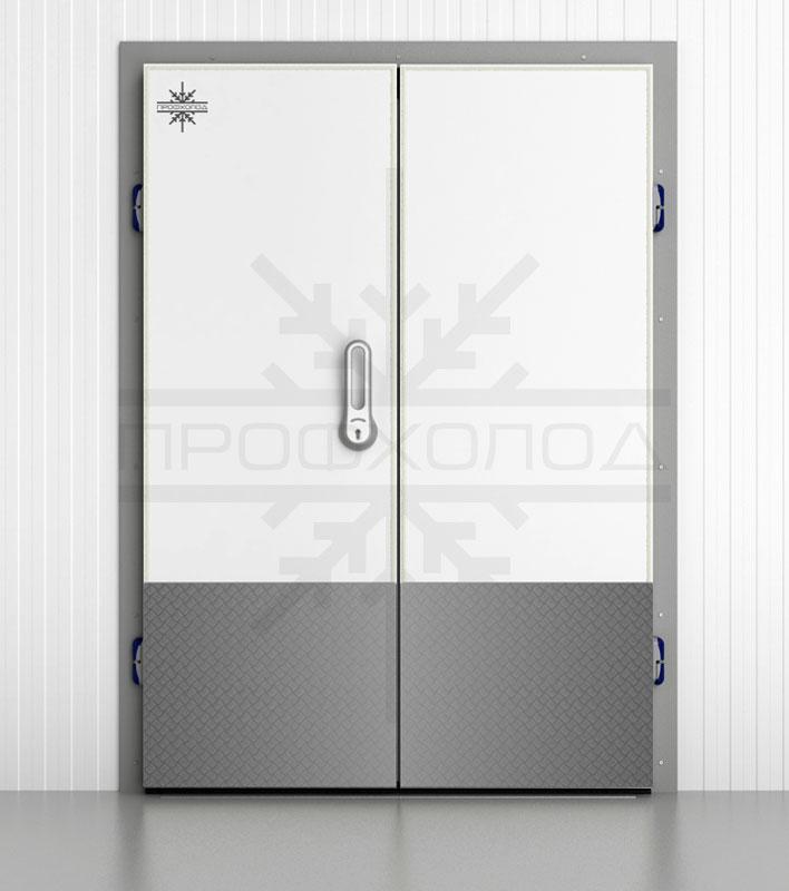 Дверь с отбойником: рифлёный металл «Квинтет» 1.5 мм