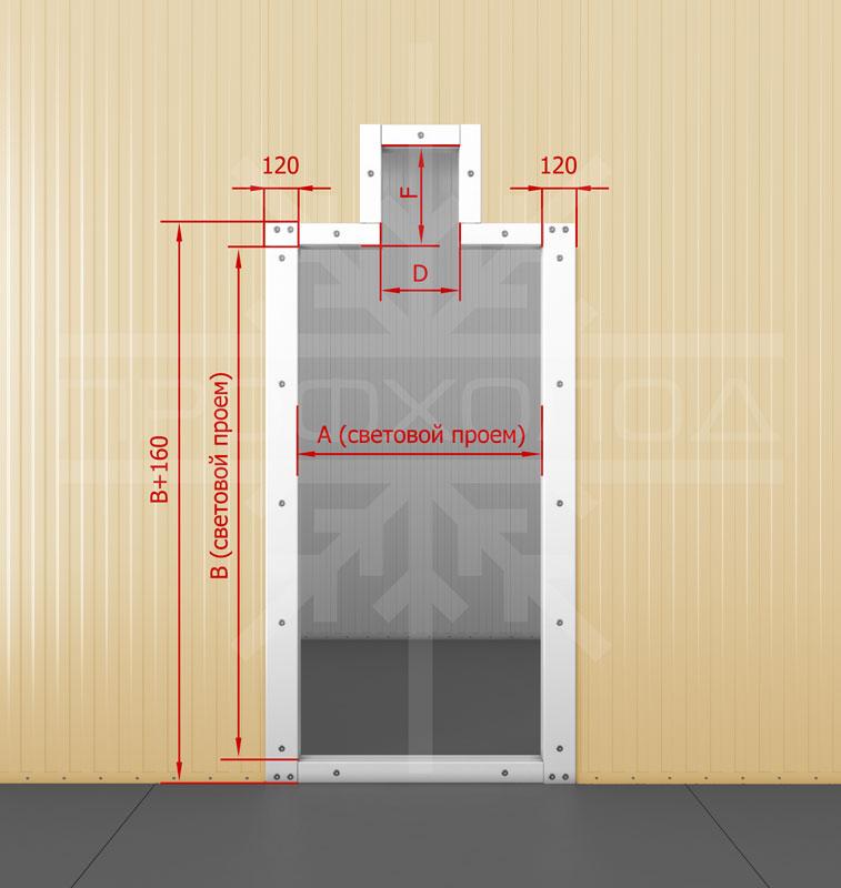 Дверная рама для двери РДО/РДОП обустроенная под монорельс с порогом