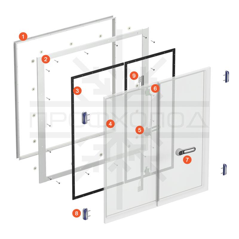 Схема базовой комплектации двери РДД серии R производства ПРОФХОЛОД