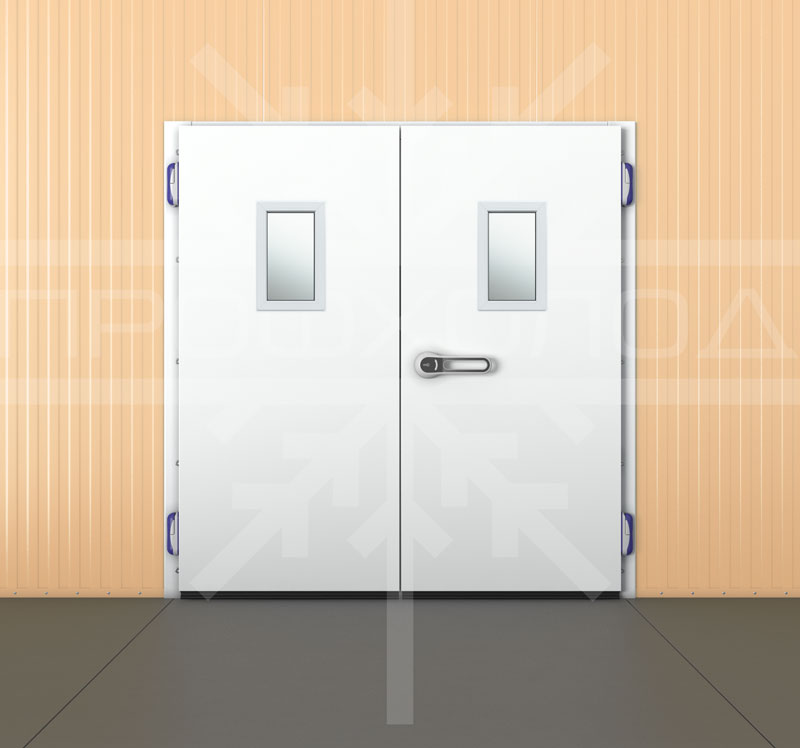Двустворчатая дверь с двухконтурным металлоплатиковым окном