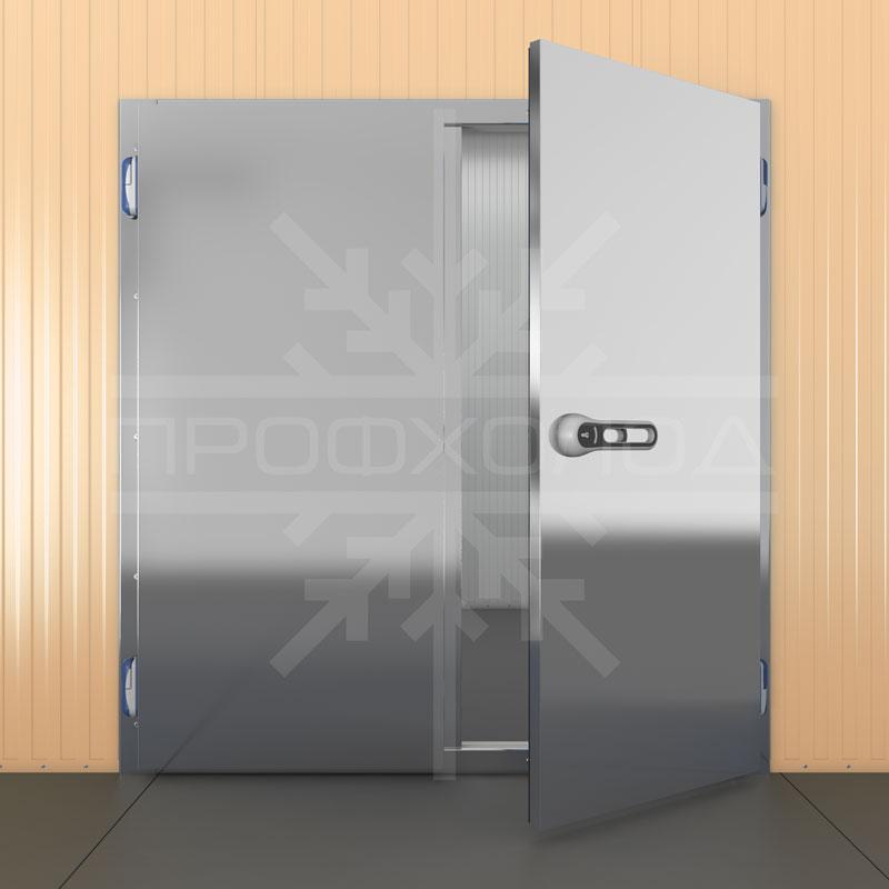 Двустворчатая холодильная дверь Нерж.