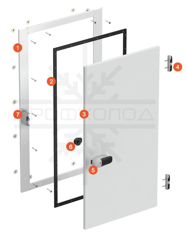 Схема базовой комплектации двери РДО/РДОП производства ПРОФХОЛОД